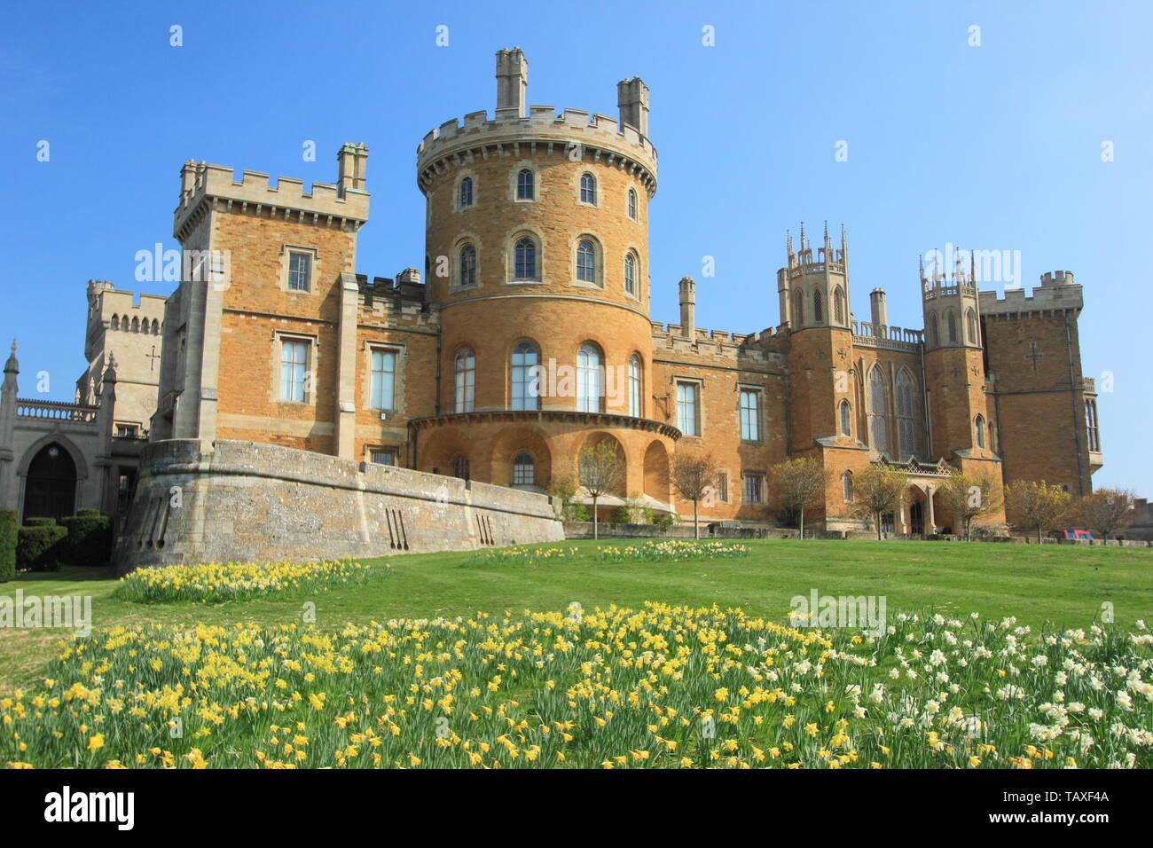 Castillo de Belvoir, asiento del duque de Rutland, Leicestershire, Inglaterra, Reino Unido - muelle Foto de stock