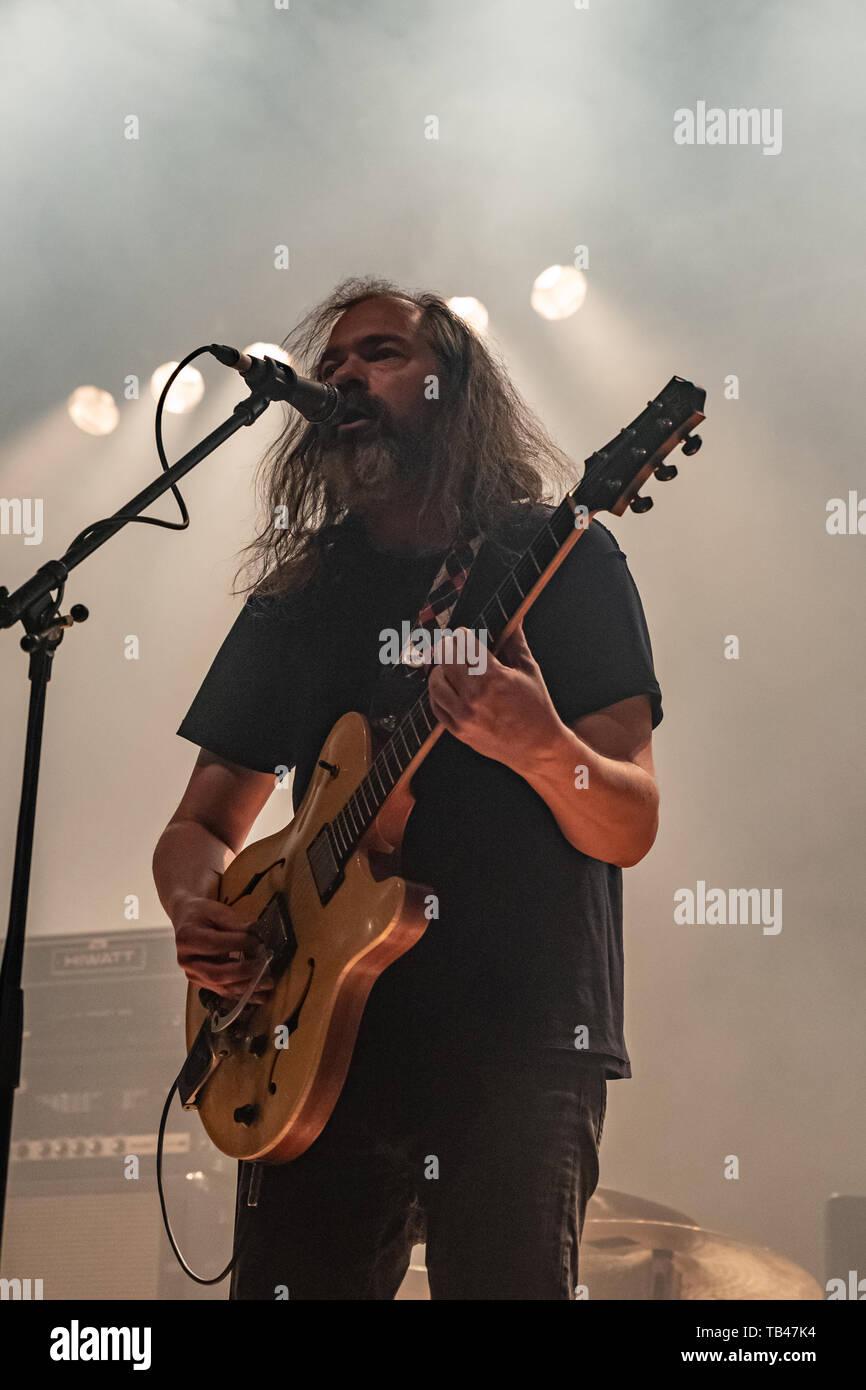 Milán, Italia - 28 de mayo de 2019: la banda de rock psicodélico y progresivo MOTORPSYCHO desde Trondheim, Noruega realiza en Live Music Club de Trezzo. Brambilla Foto de stock