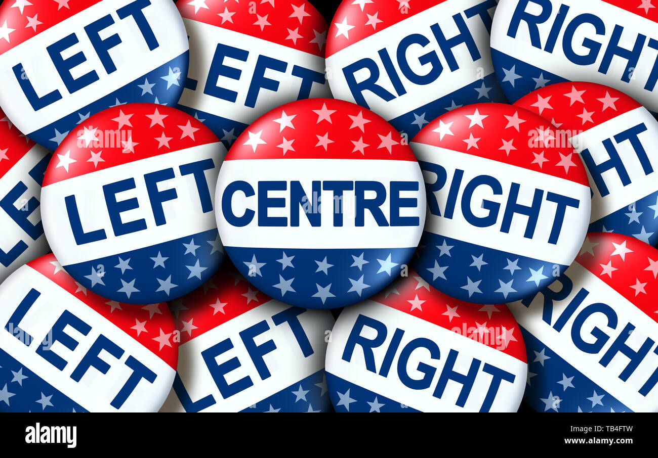 La política de centro izquierda y derecha votación insignias como Estados Unidos o el voto electoral concepto como un símbolo con políticos conservadores y liberales. Foto de stock