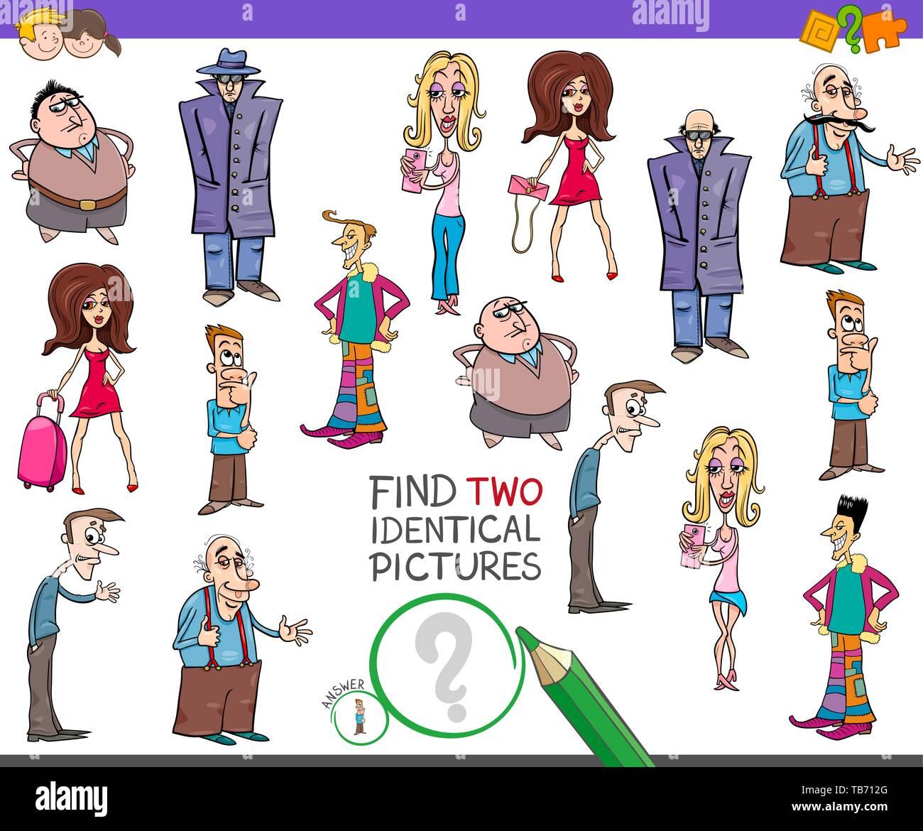 Ilustración De Dibujos Animados De Encontrar Dos Imágenes Idénticas Juego Educativo Para Niños Con Historietas Personas Caracteres Imagen Vector De Stock Alamy