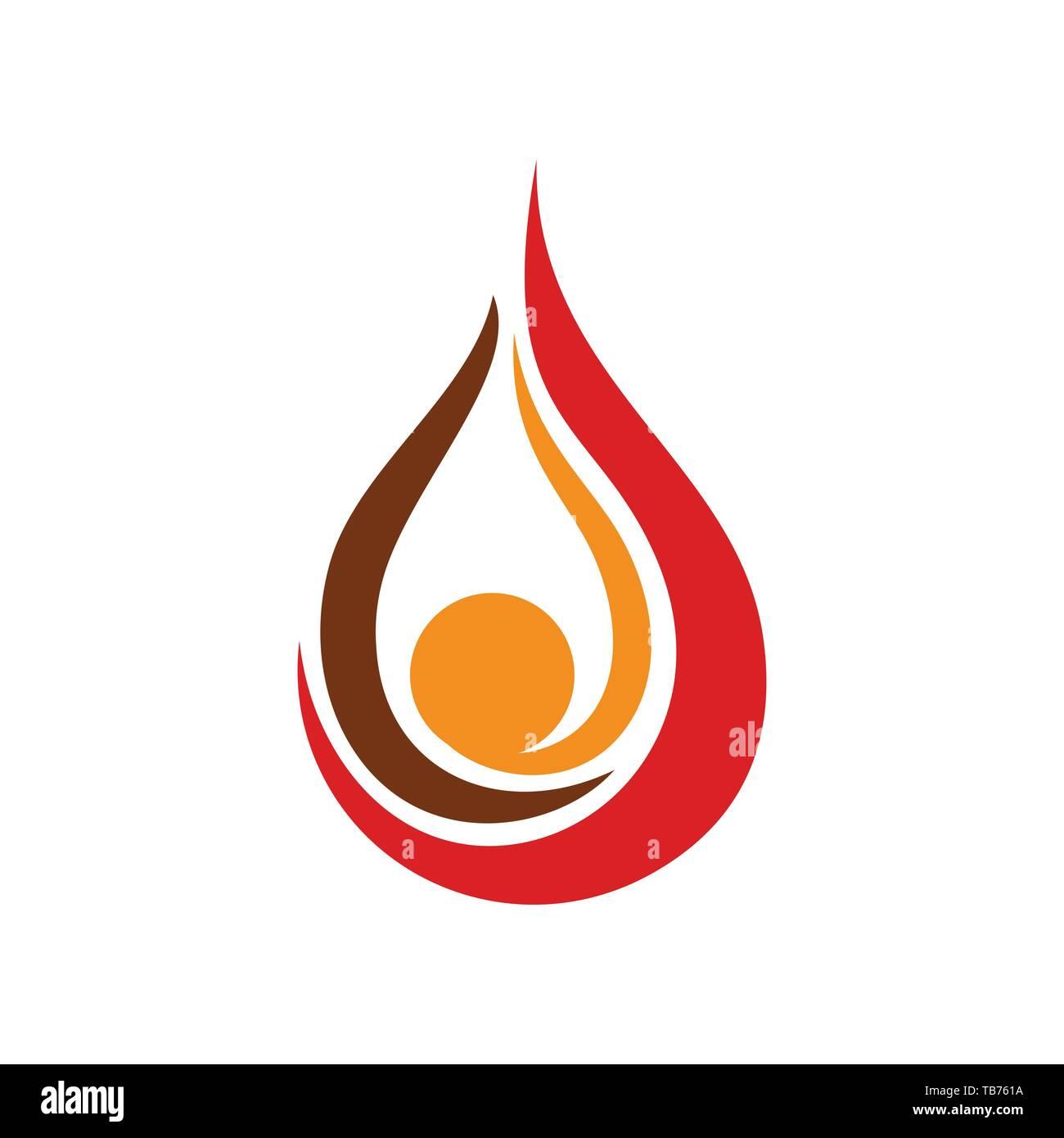 Gota de aceite llamas Vector símbolo gráfico de la plantilla de diseño de logotipo Ilustración del Vector