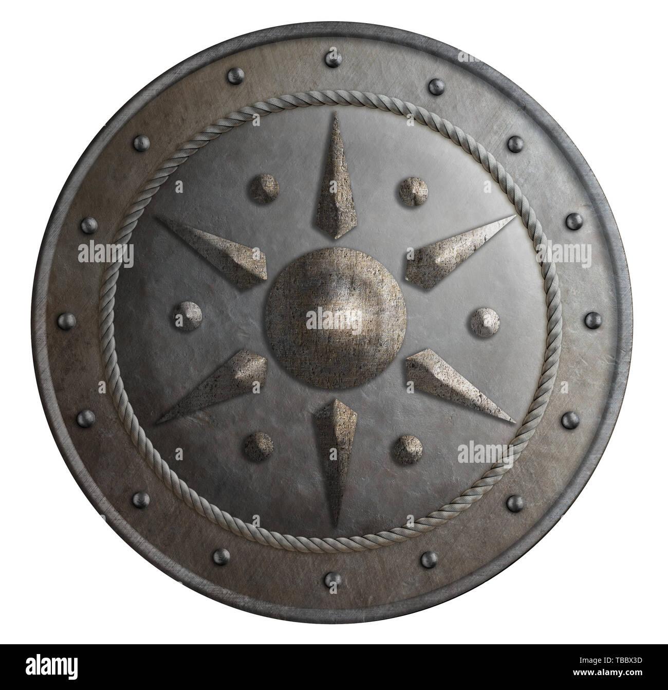 Escudo De metal redondo aislado ilustración 3d Imagen De Stock