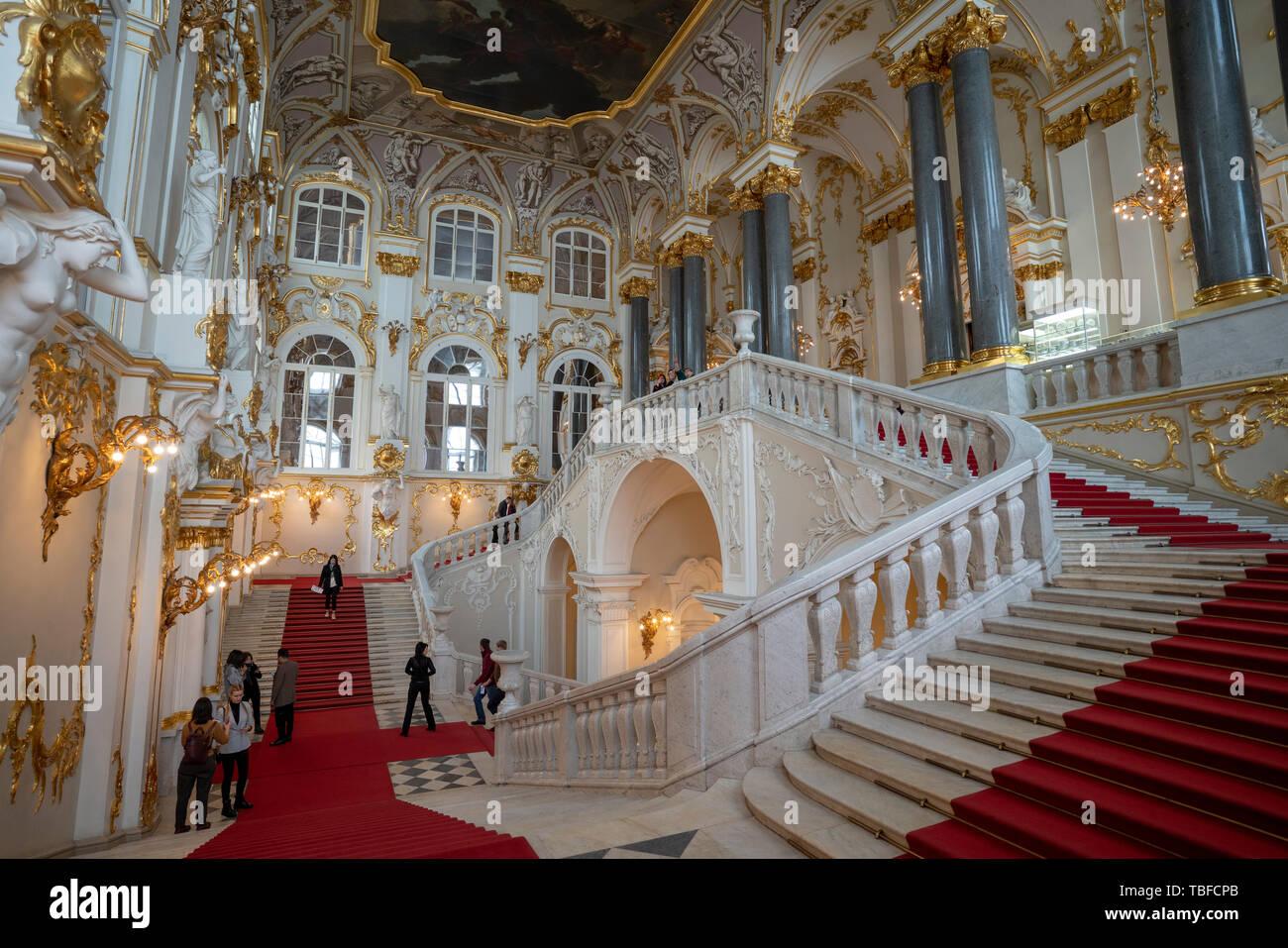 San Petersburgo, Rusia, 9th, Febrero, 2019: El punto de vista del Palacio de Invierno. Foto de stock