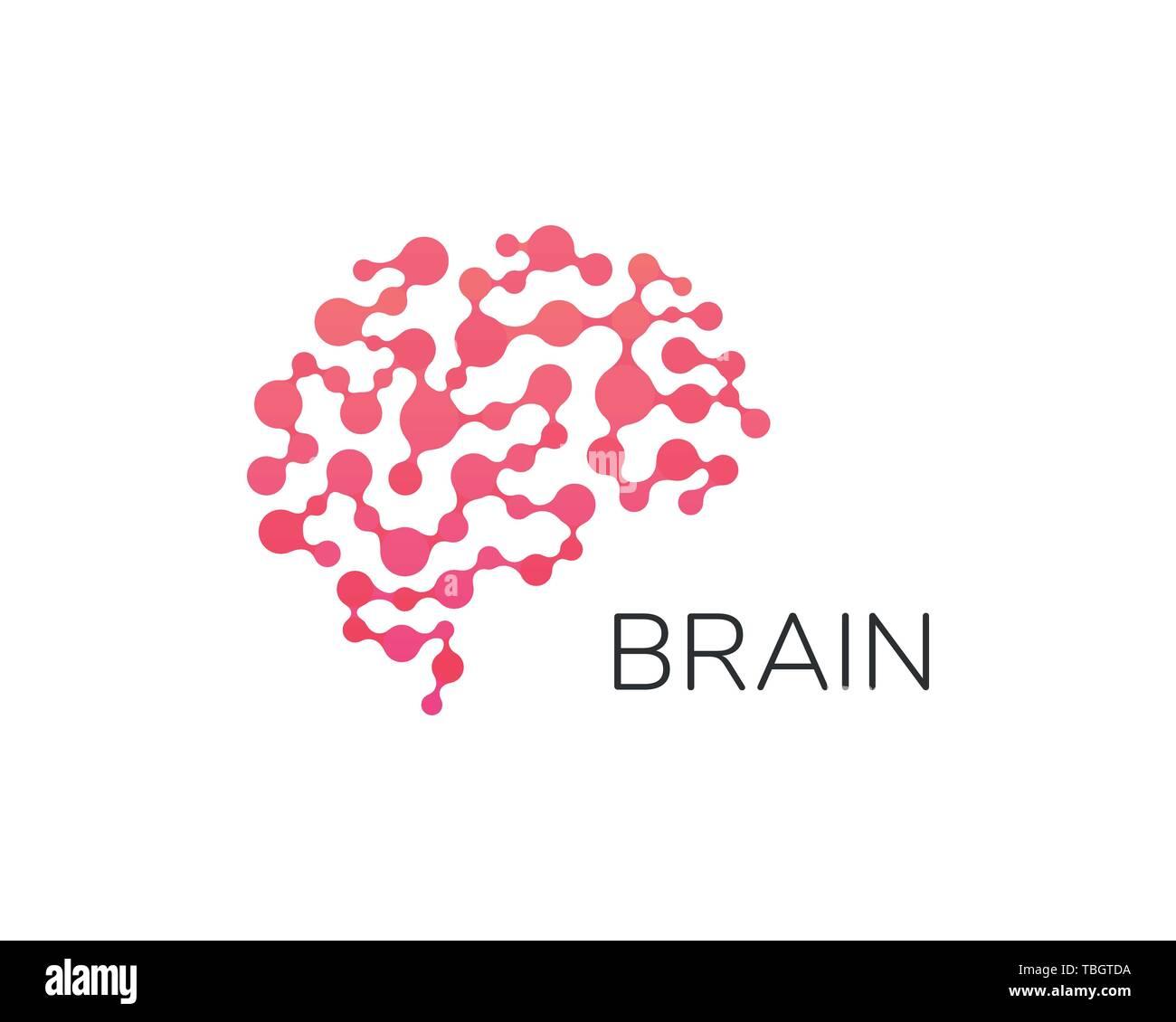 Logotipo del cerebro humano. Red neuronal, atlas de la memoria, el diseño minimalista del vector logo. Inteligencia Artificial. Cerebro digital Imagen De Stock