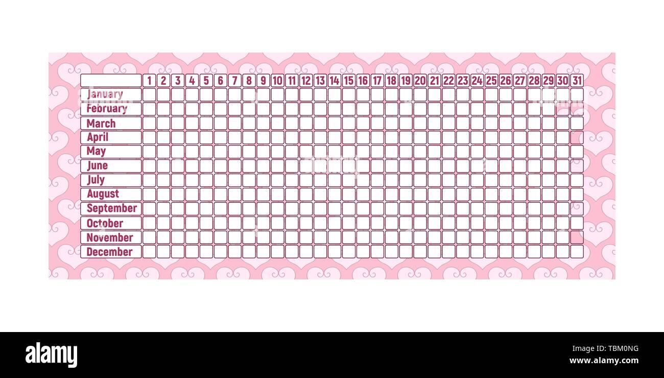 Calendario De Periodo Menstrual.Calendario Del Periodo Menstrual Control Mensual De La