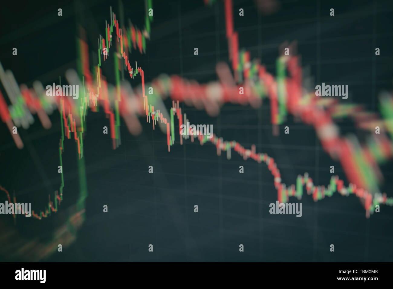 Gráfico con diagramas en el mercado bursátil, para negocios y conceptos financieros e informes.abstracto fondo azul. Foto de stock