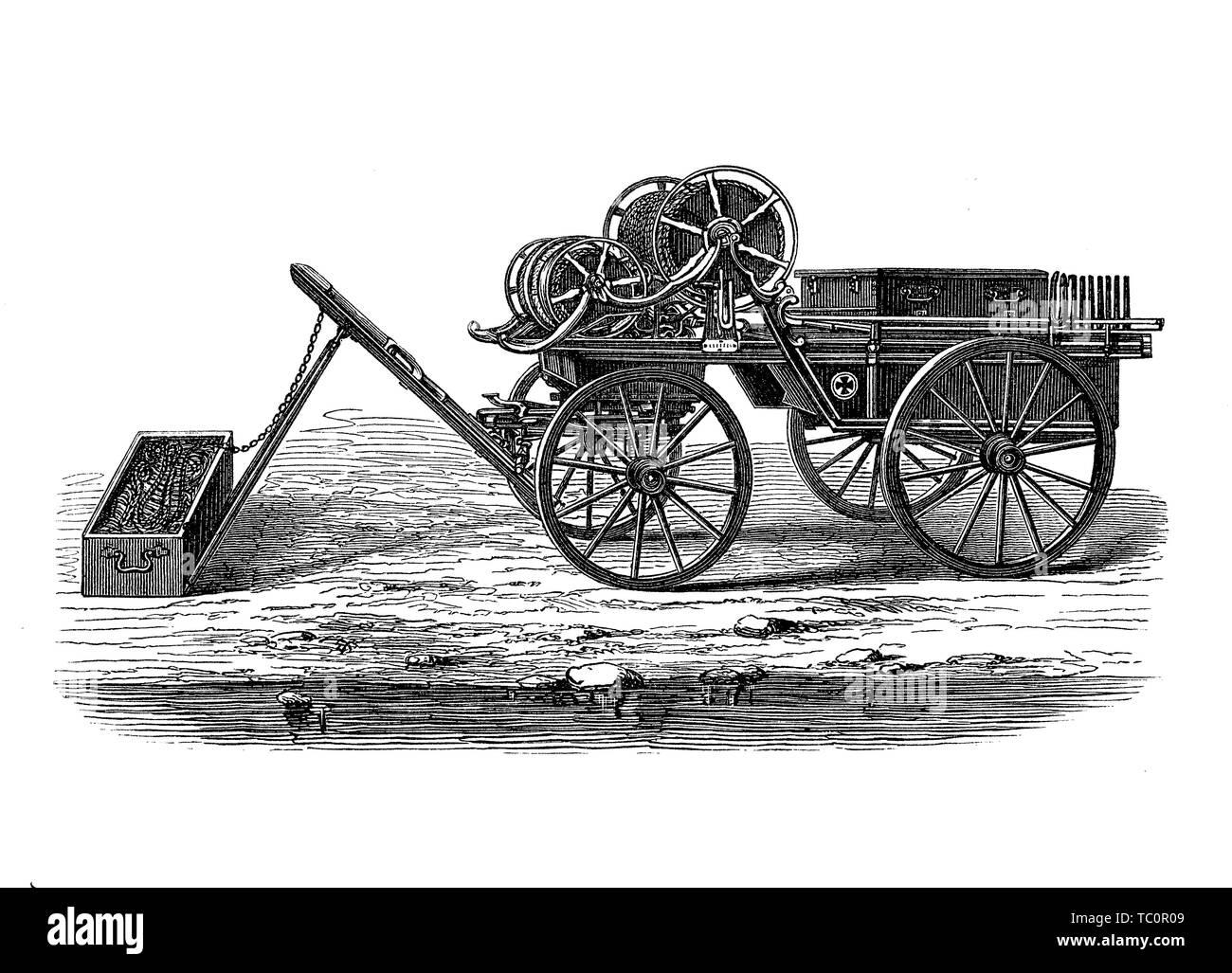Lanzador de cohetes pistola con línea adjunta para fines de rescate o como arma, del siglo XIX. Imagen De Stock