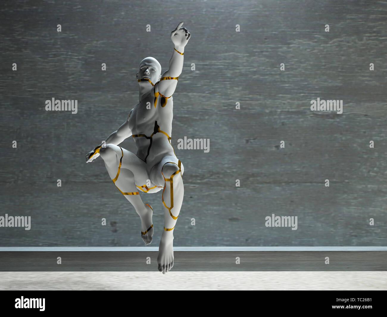 Los hombres la figura de piedra. Hombre en movimiento Imagen De Stock