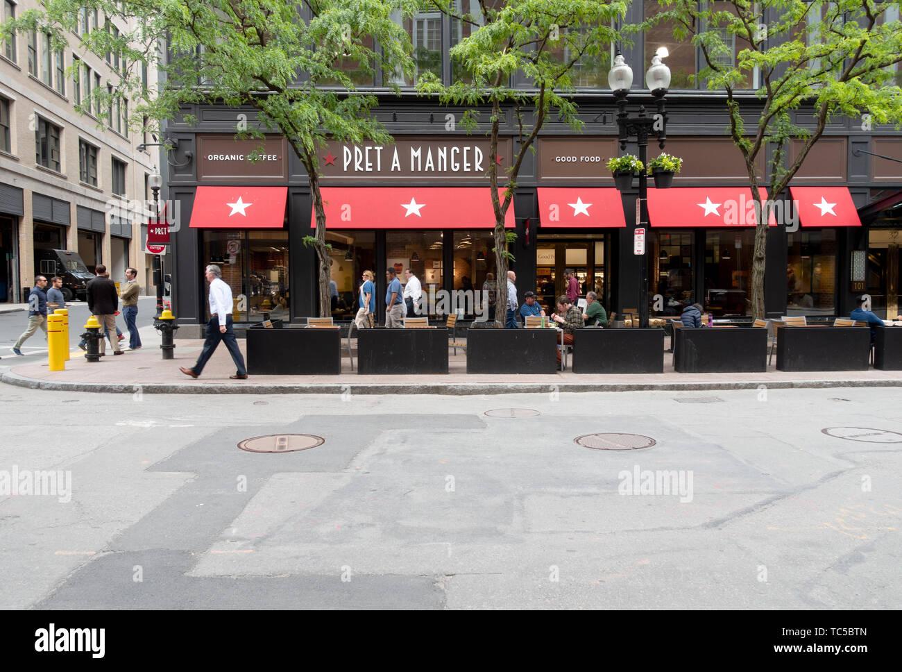 Pret A Manger restaurante cafe en Federal Street en Boston, Massachusetts Imagen De Stock