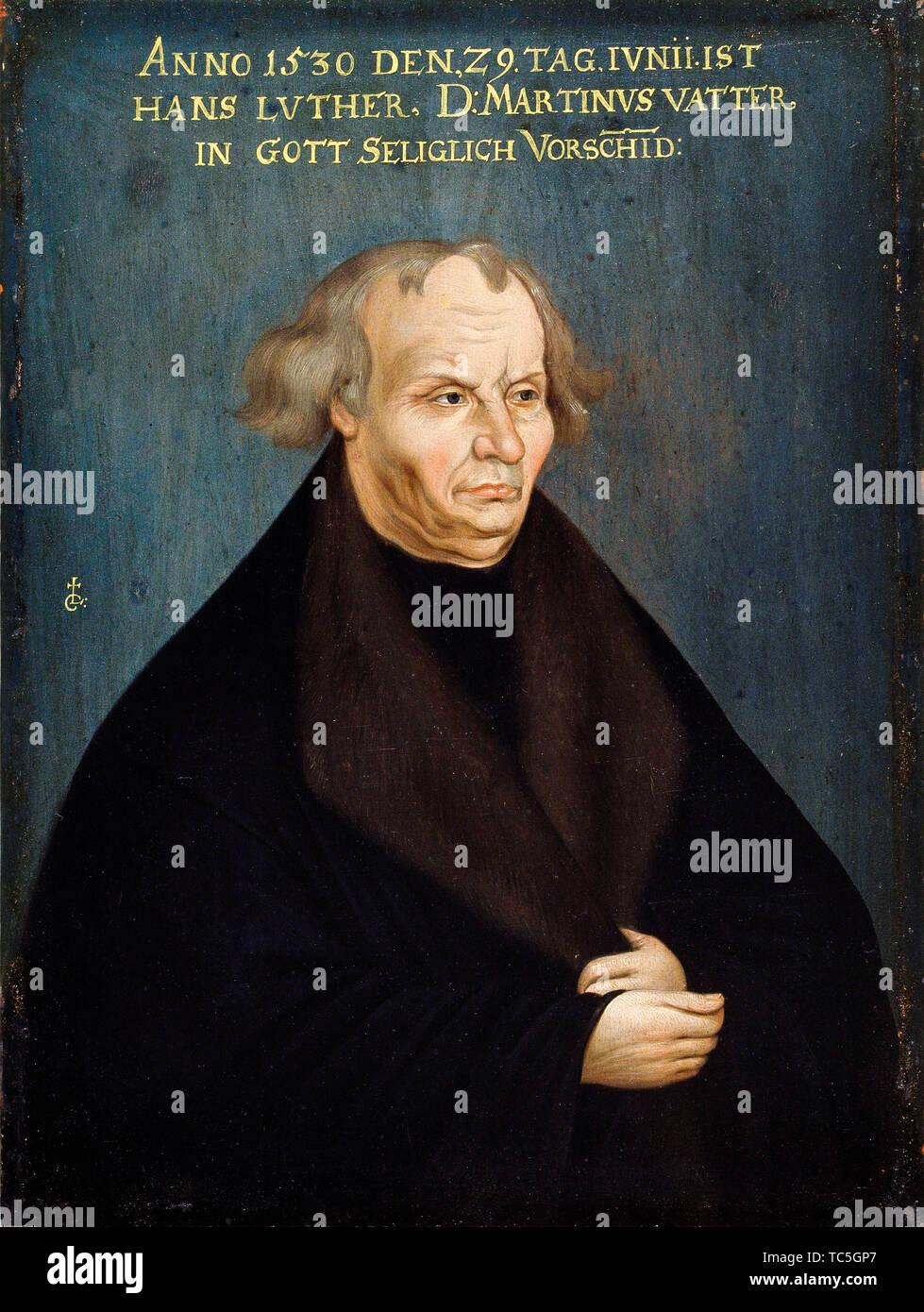 Después de Lucas Cranach, Hans Luther, el padre de Martín Lutero, Siglo XVIII retrato, retrato, 1700-1799 Foto de stock
