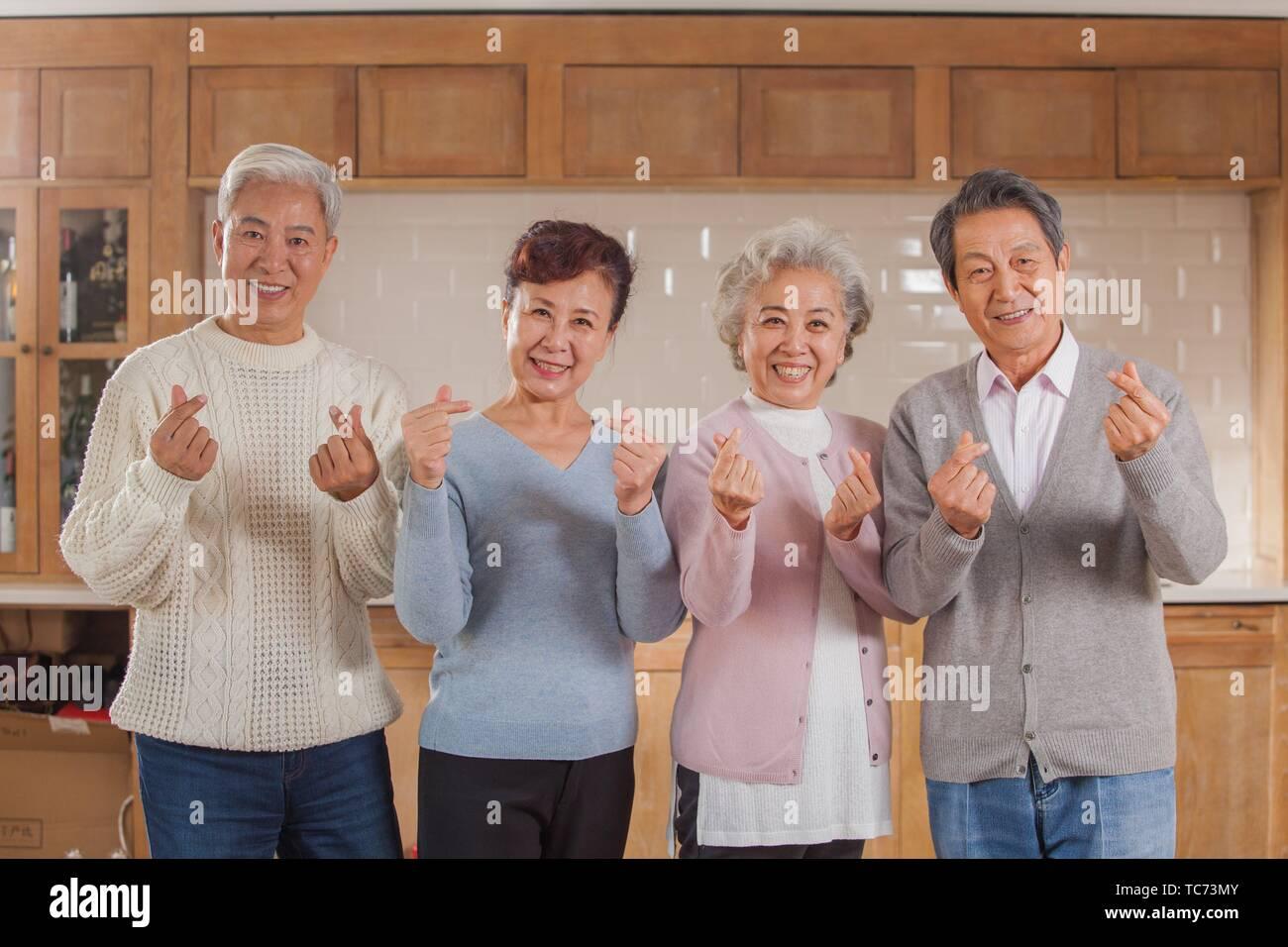 Viejos amigos, Feliz de etnia china Imagen De Stock