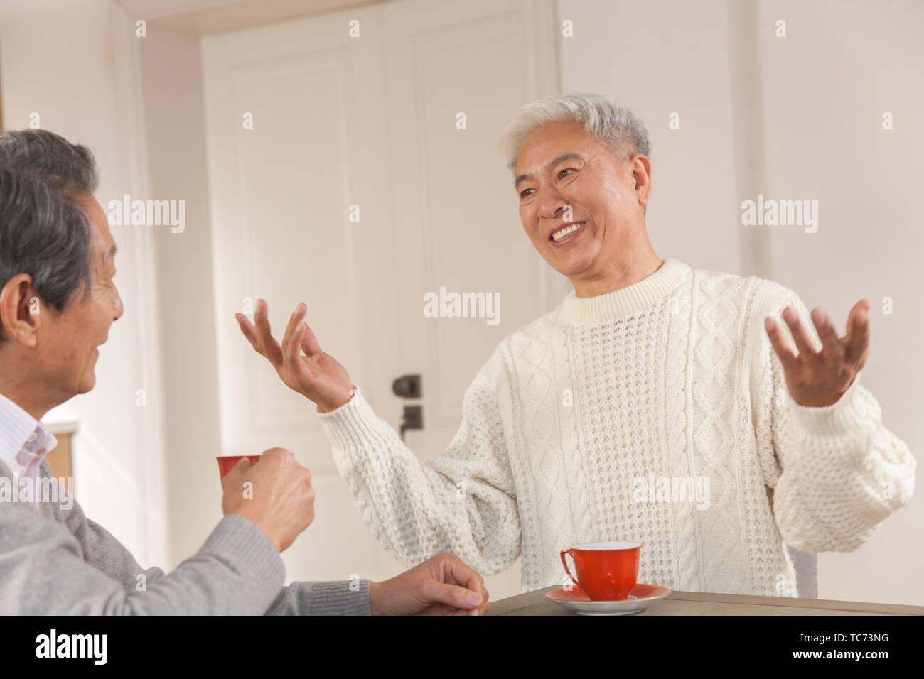 Dos altos amigos, chatear, etnia china Imagen De Stock