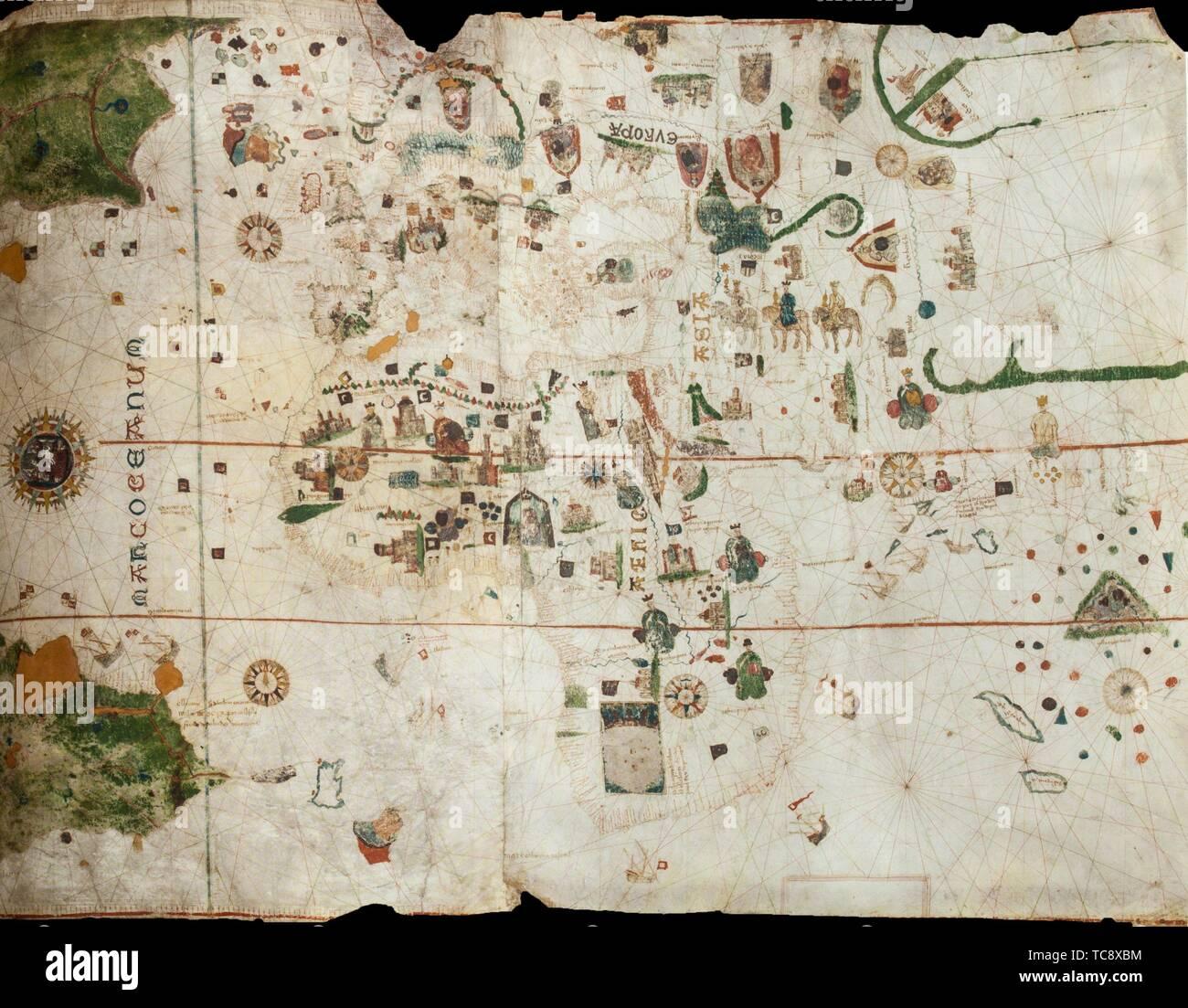 Jerez De Los Caballeros Espana Abril 15th 2019 Mapa O Carta De