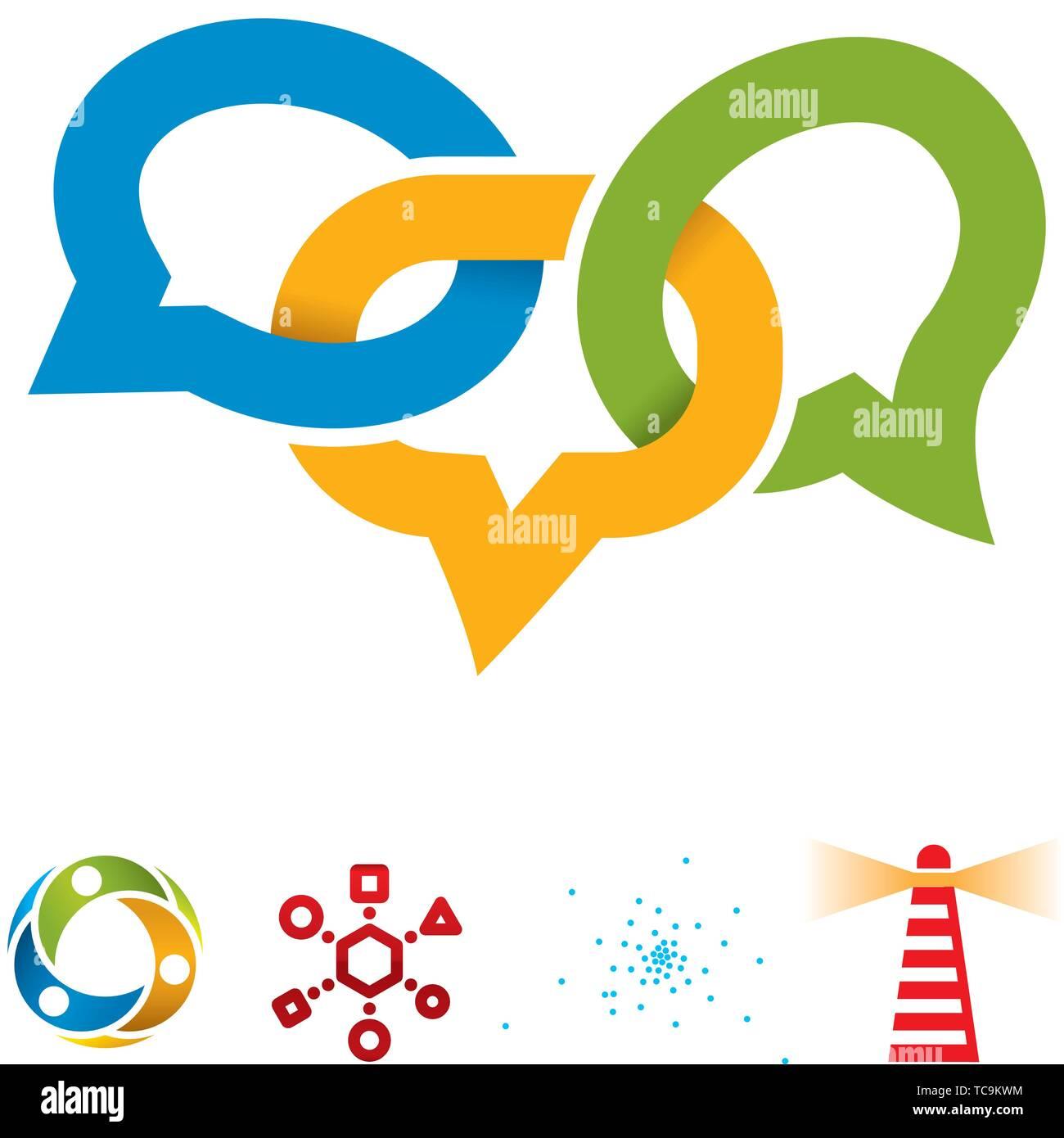Ilustración vectorial. Conjunto de cinco iconos sociales en diferentes colores. Imagen De Stock