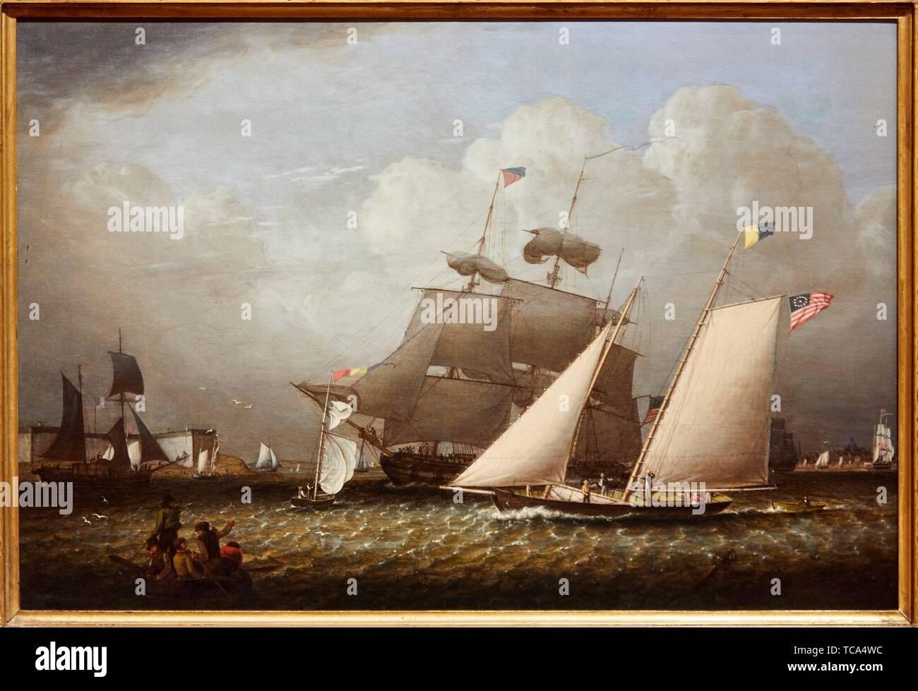 '''Imagen del sueño de yates de placer'', de 1839, Robert Salmón, Museo Thyssen Bornemisza, Madrid, España Imagen De Stock