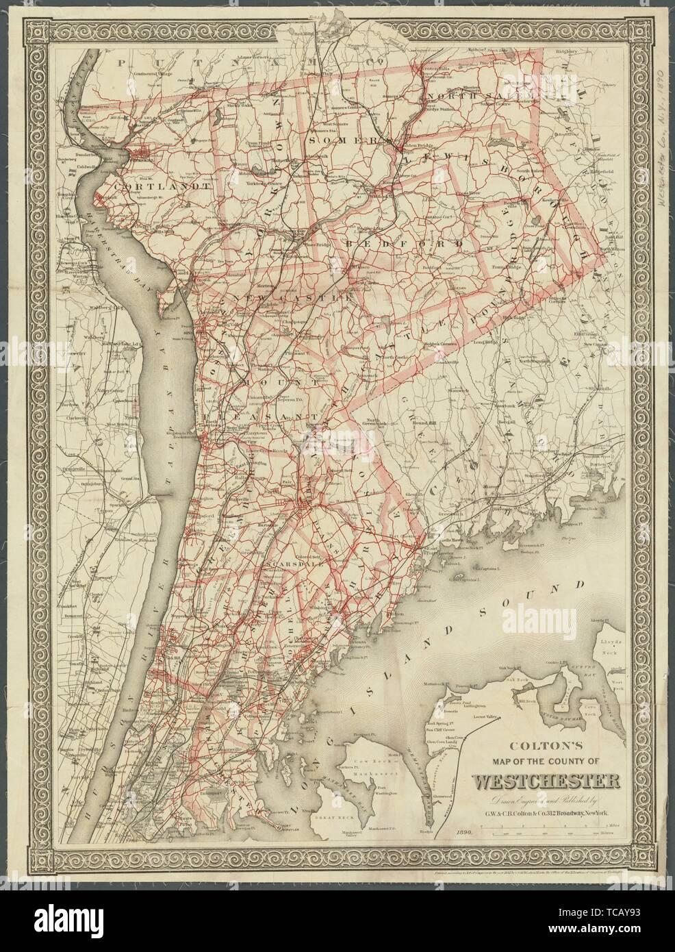 Colton Mapa del condado de Westchester título adicional: Mapa del condado de Westchester. G.W. & C.B. Colton & Co. (editor). Mapas de Nueva York Foto de stock
