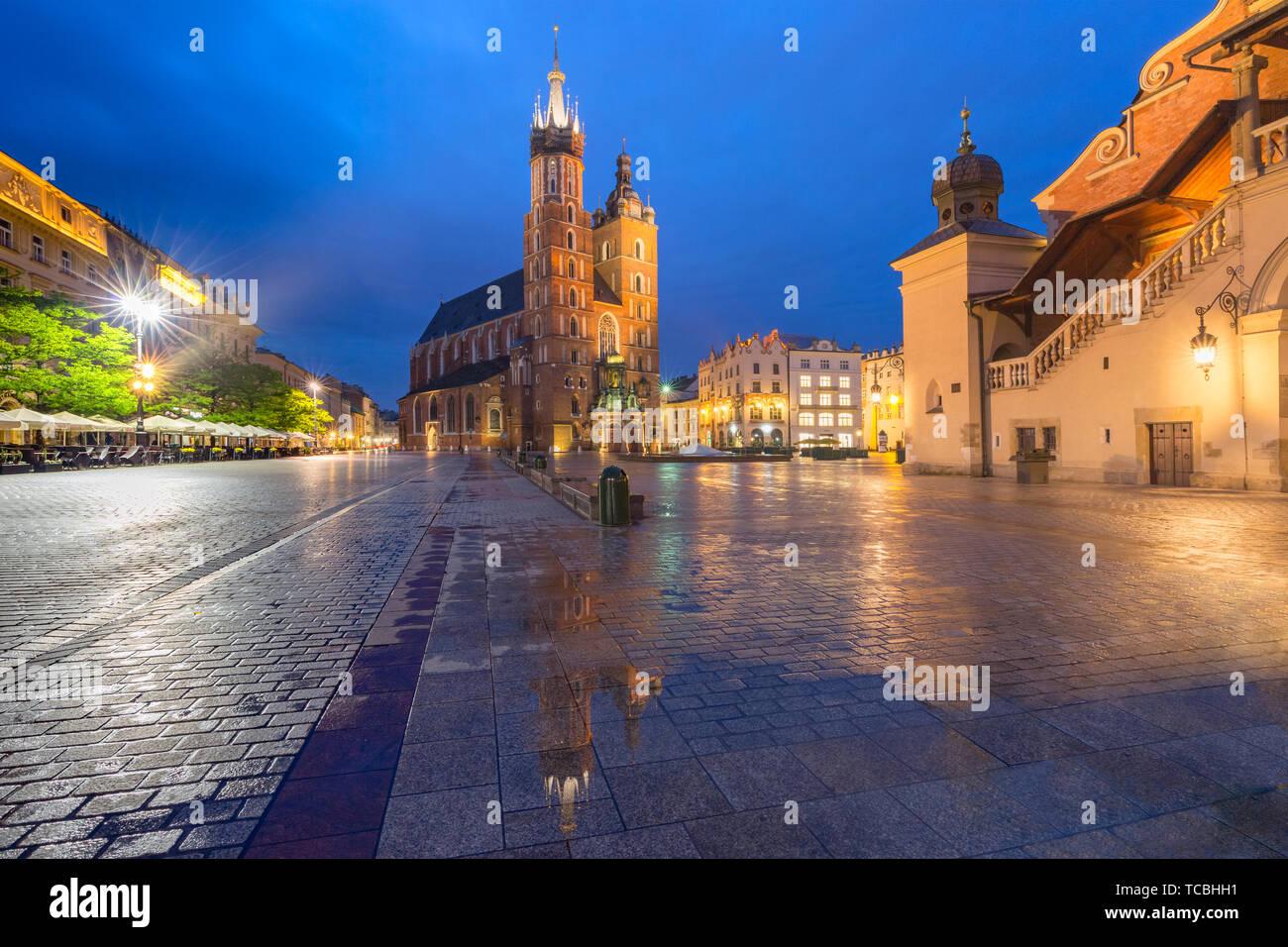 Plaza del Mercado de Cracovia, Polonia Foto de stock