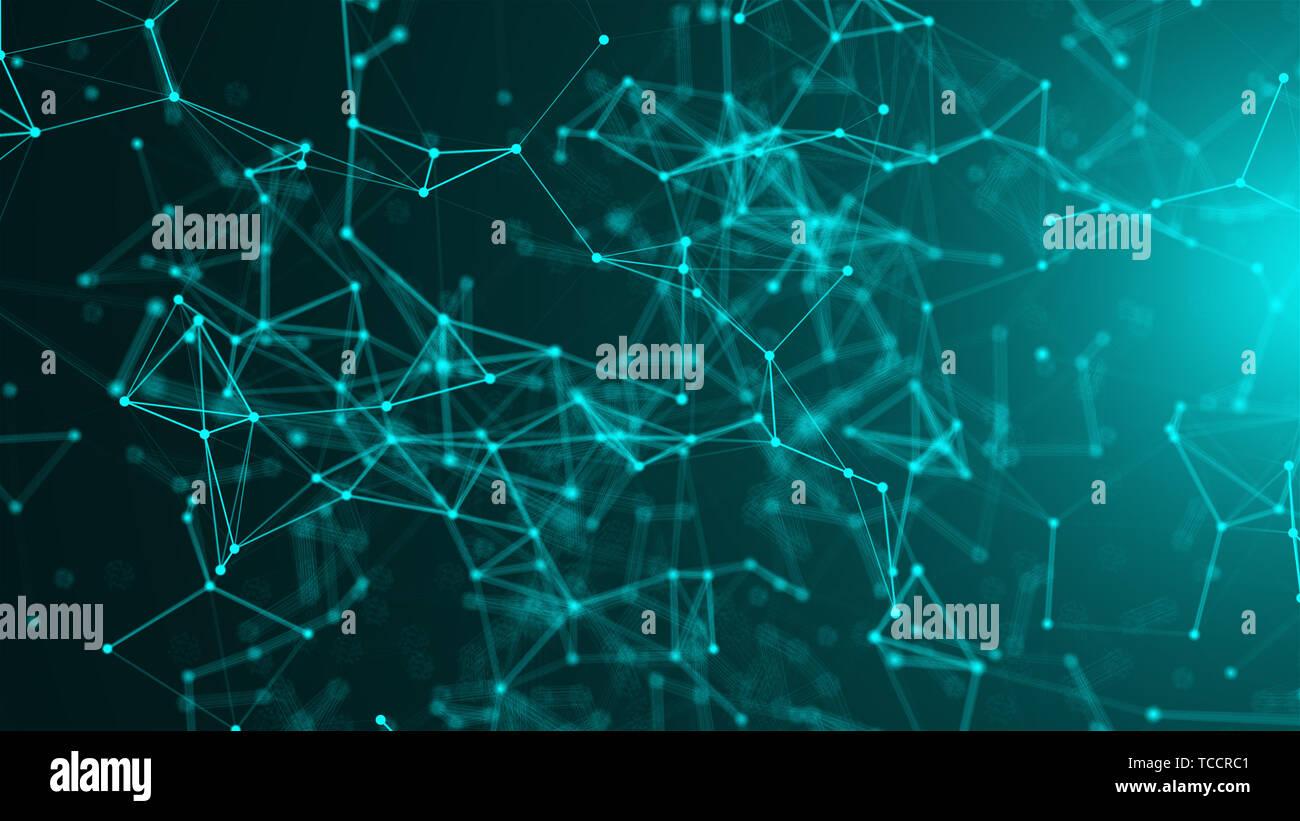 Resumen de puntos de conexión. Fondo de tecnología. Concepto de red Foto de stock