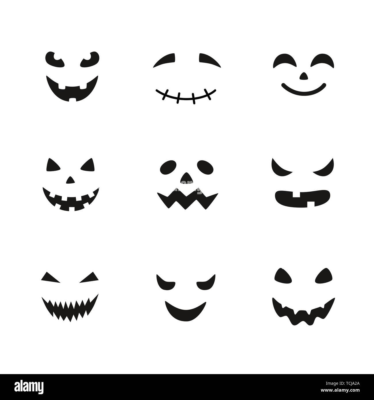 Colección de Halloween calabazas talladas caras las siluetas. Las imágenes en blanco y negro. Plantilla con variedad de ojos, boca y nariz para cortar jack o Ilustración del Vector
