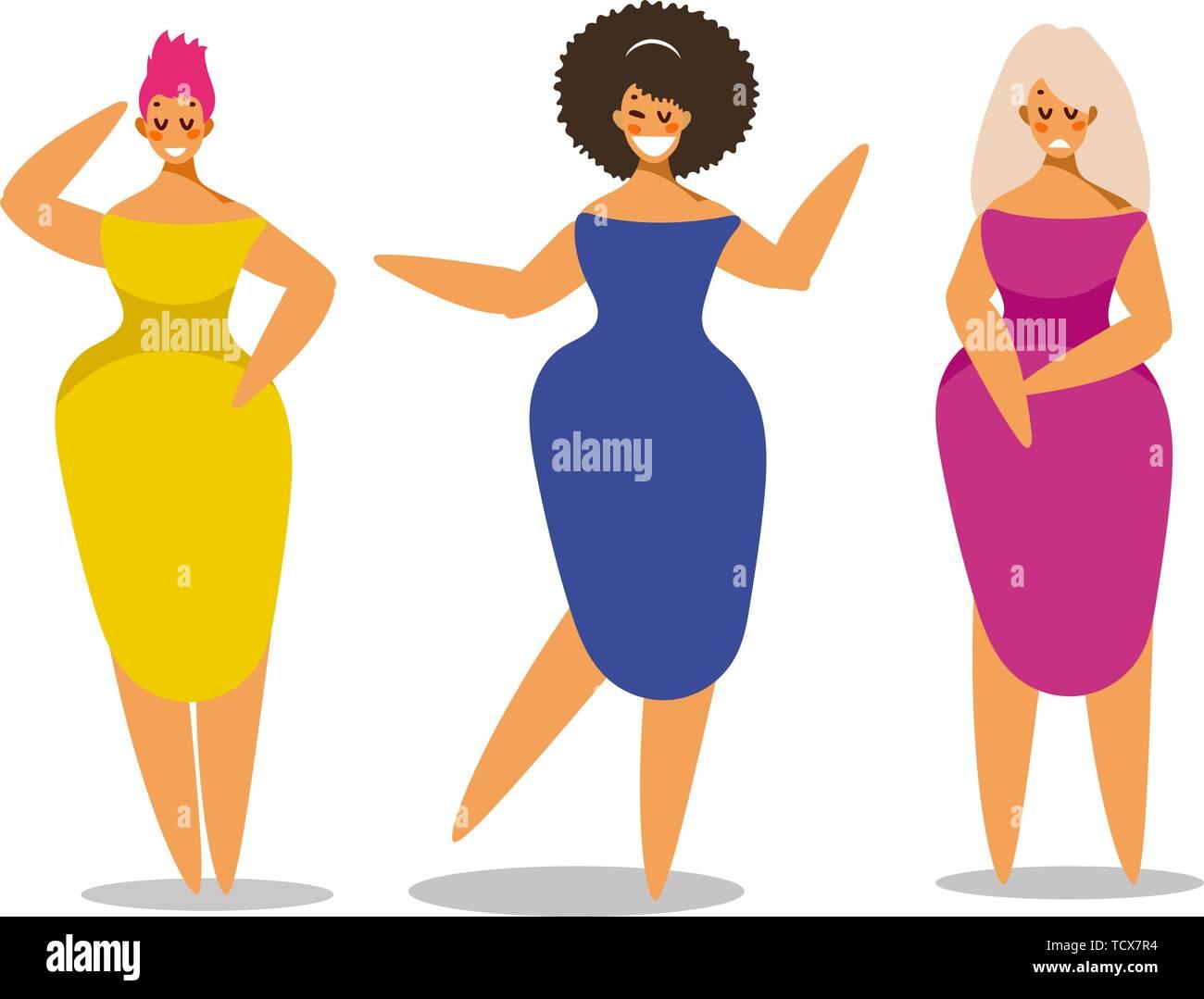 a573e0089 Conjunto de mujer en elegante vestido en diferentes poses. Carácter ...