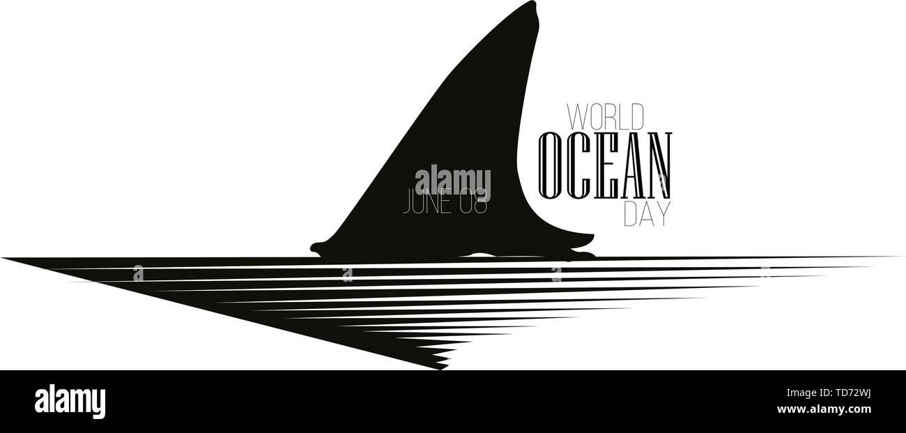 La campaña del Día Mundial de los océanos Poster - Vector. Cartel en el estilo de una ola Imagen De Stock