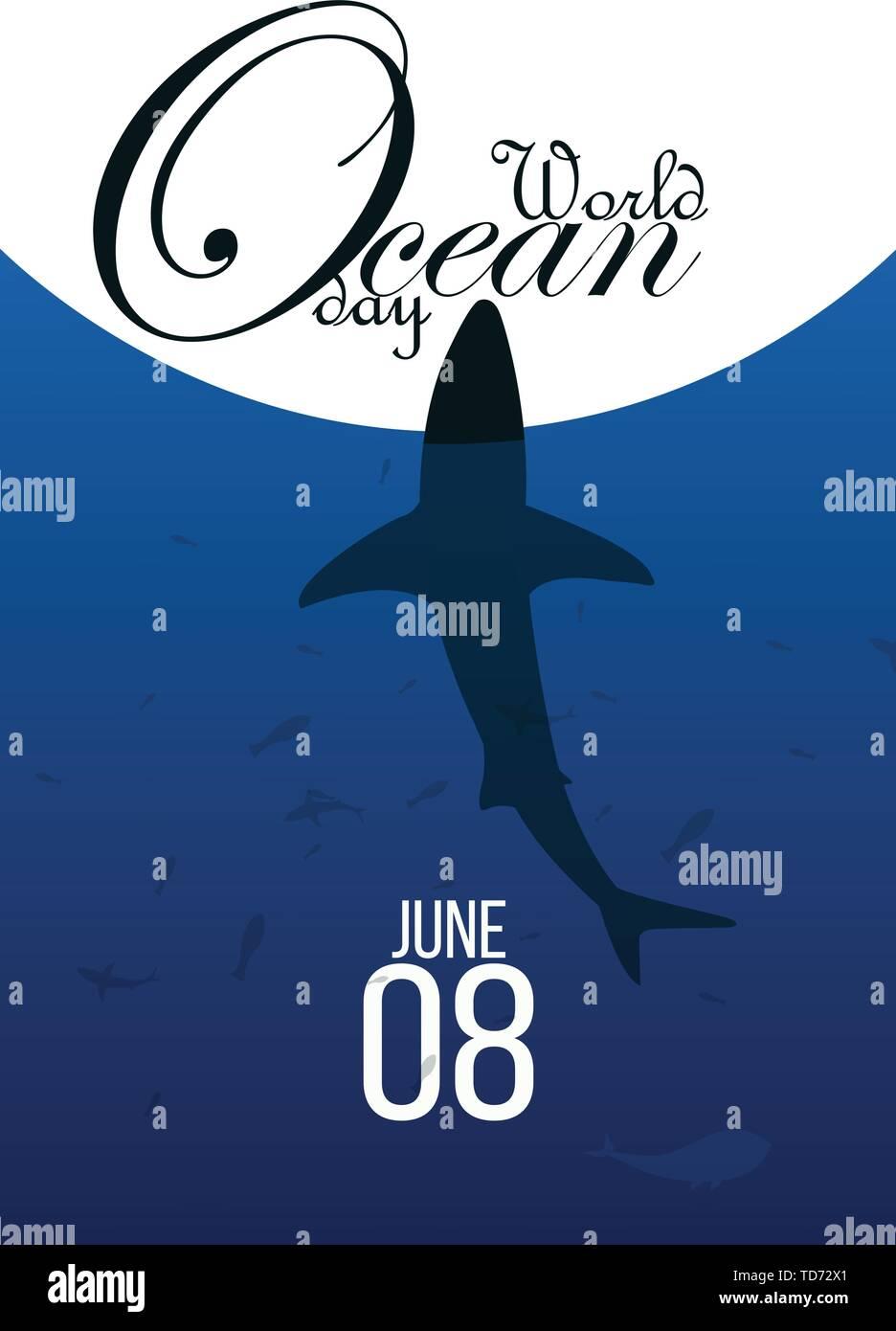 Día mundial de los océanos. Los animales del mar. Póster. Ilustración vectorial Imagen De Stock