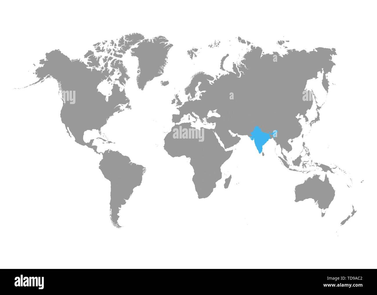 Mapa De La India En El Mundo.El Mapa De La India Esta Resaltada En Azul En El Mapa Del