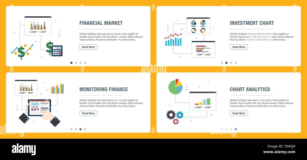 Banners Web concepto en vector con mercado financiero