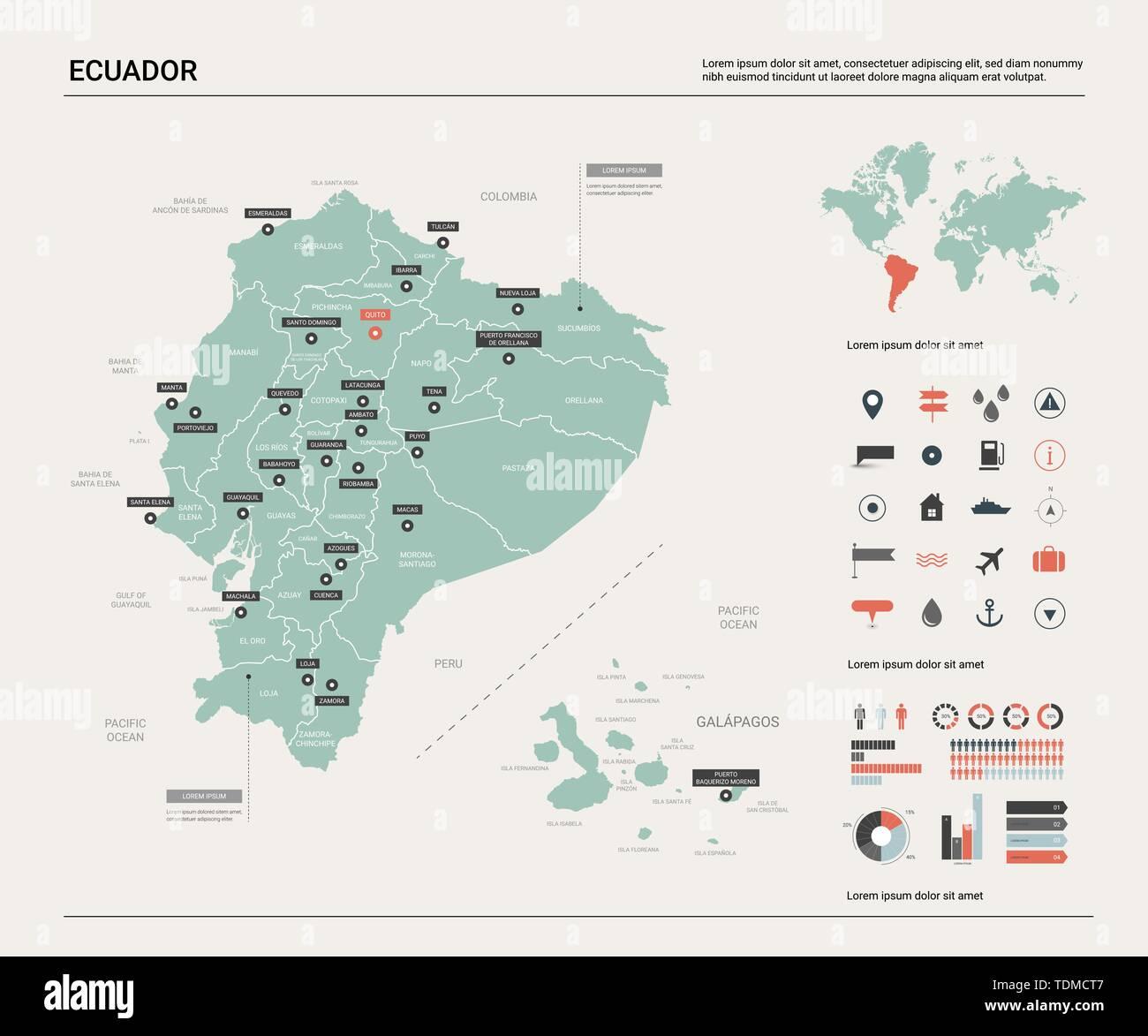 Ecuador Mapa Del Mundo.Mapa De Vectores De Ecuador Mapa Del Pais Con La Division Las Ciudades Y La Capital Quito Mapa Politico El Mapa Del Mundo Elementos Infograficos Imagen Vector De Stock Alamy