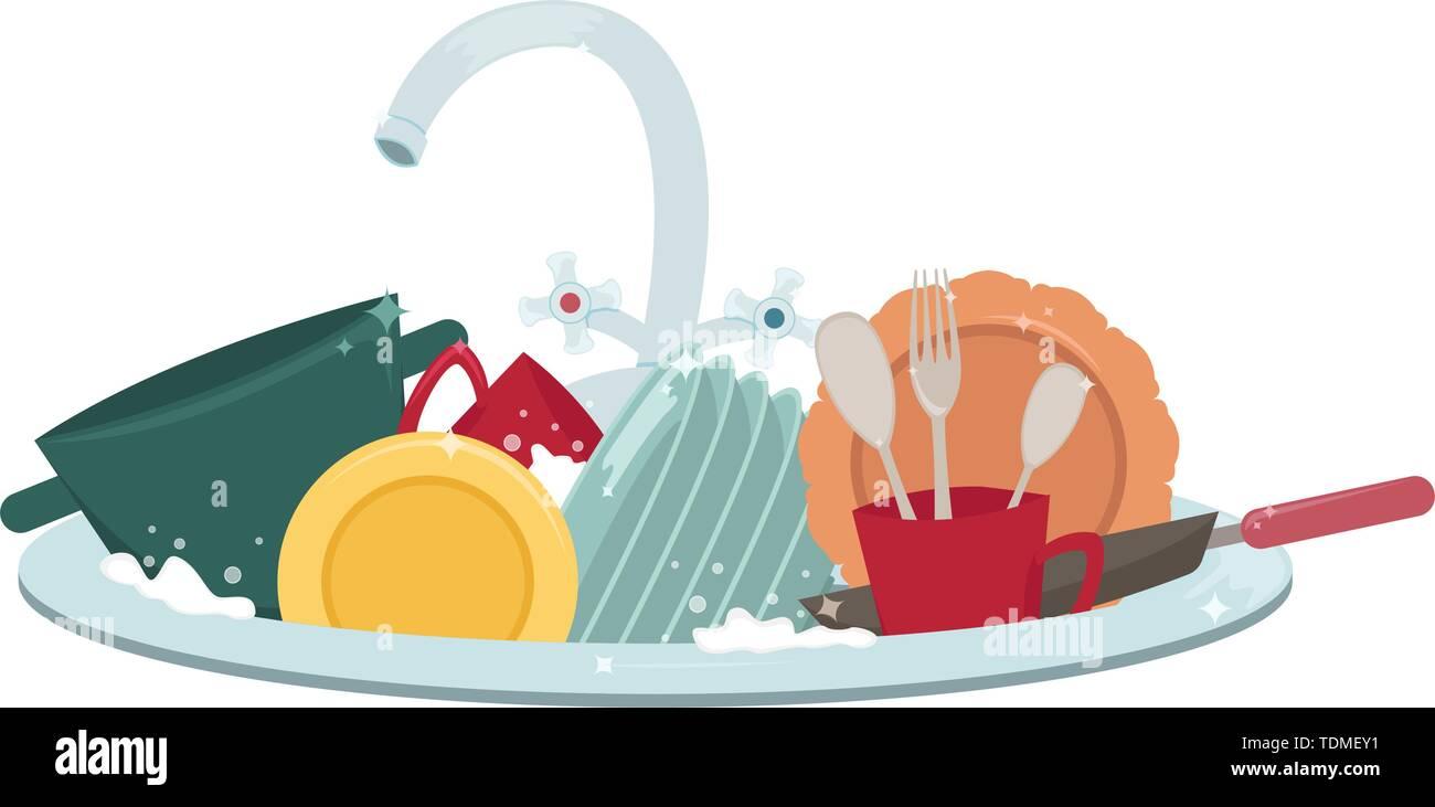 El Lavabo De La Cocina Con Platos Y Toallas Limpias Los