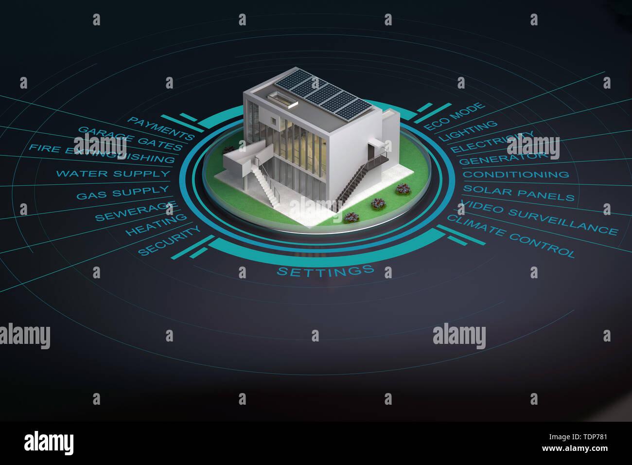 Moderna casa inteligente con la infografía. 3D rendering Imagen De Stock