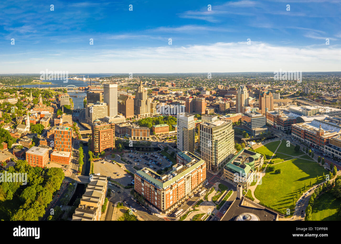 Panorama aéreo de Providence, Rhode Island Foto de stock
