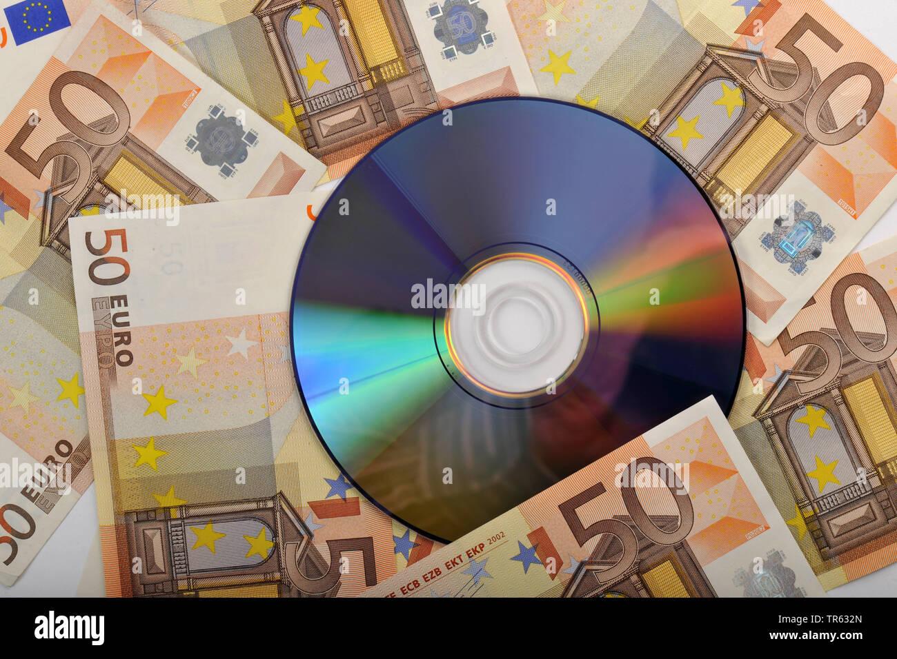 La evasión de impuestos, CD con billetes de euro, Alemania Foto de stock