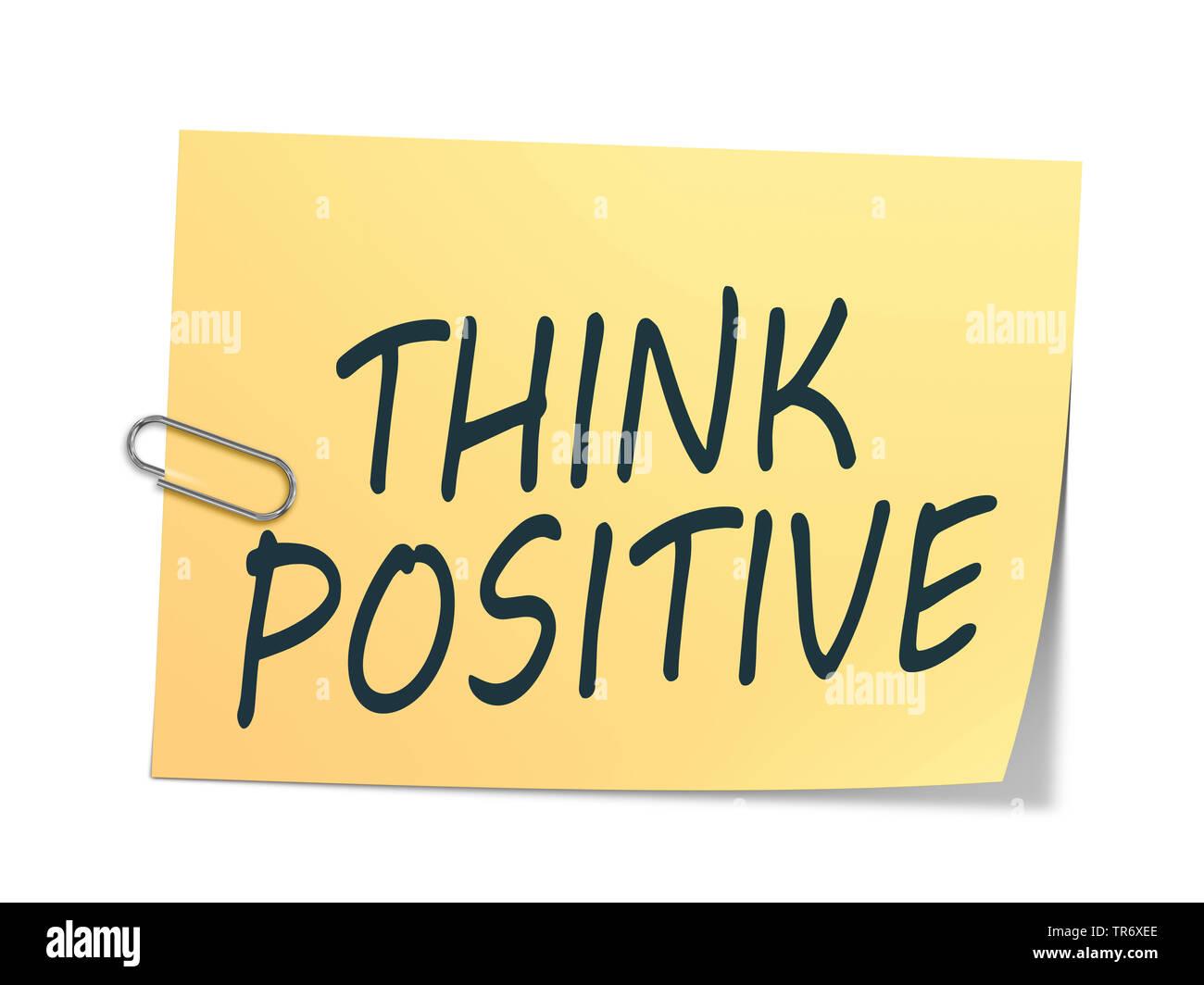 3D-Computergrafik, Gelb mit Aufschrift Notizzettel en pensar positivo (positiv denken)   Equipo 3D, gráficos en color amarillo memo leyendo PENSAR POSITI Imagen De Stock