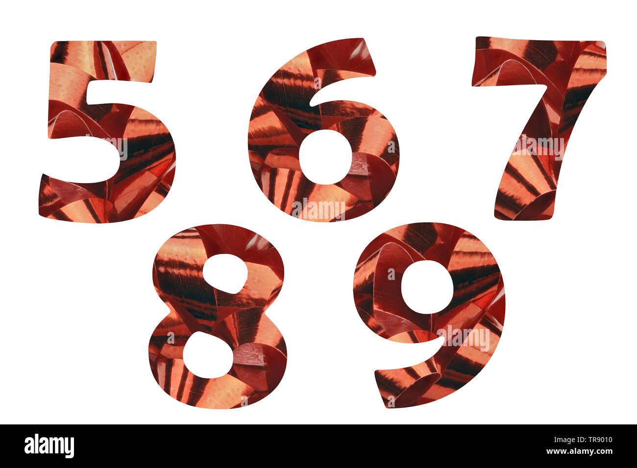 Establecer con los números 5,6,7,8 y 9 cortada de un close-up de una cinta de regalo roja Imagen De Stock