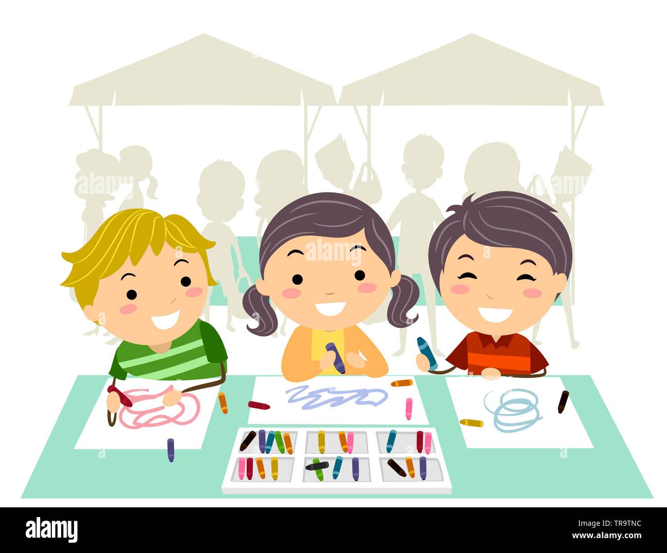 Ilustración De Stickman Dibujo Para Niños Y Colorear Una Mesa Para