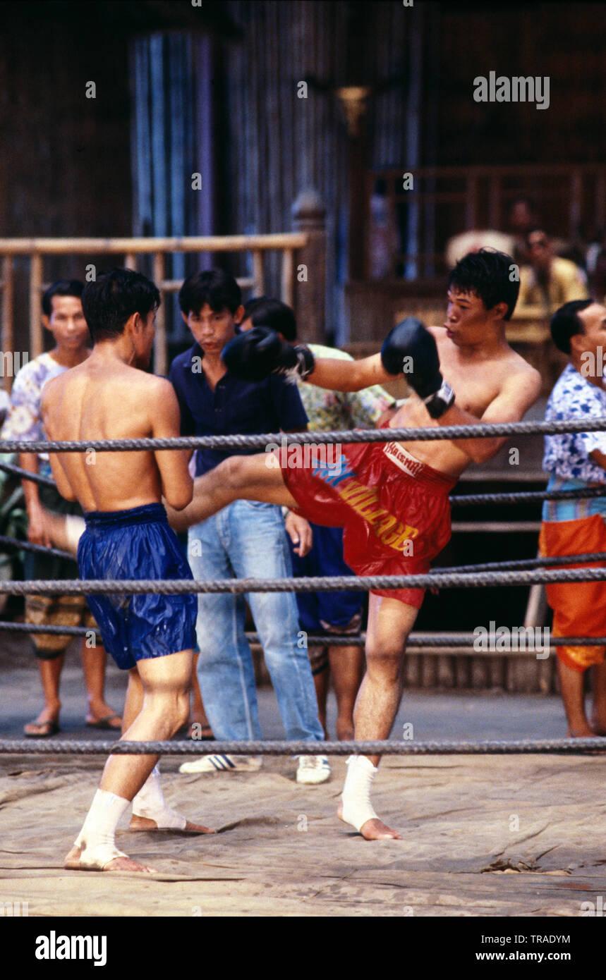 Tailandia. Sam Phran. Sampran Riverside. Jardín de rosas. El boxeo tailandés. Imagen De Stock