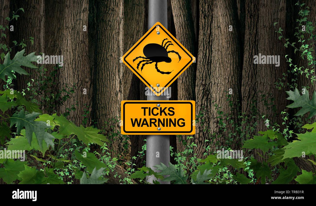 Marque parásito como letreros de advertencia o señal de peligro como portador de enfermedad aterradora bug ácaro como un riesgo para la enfermedad de Lyme en el medio silvestre. Foto de stock