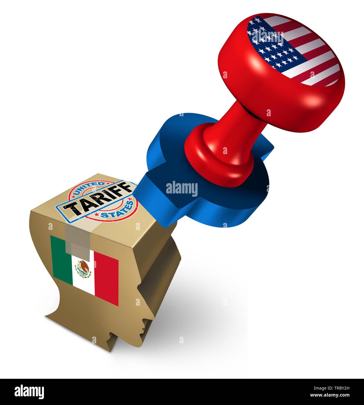 Los aranceles de México por los Estados Unidos debido a la inmigración ilegal como una política económica de una disputa sobre los impuestos de importación y exportación y los inmigrantes. Foto de stock