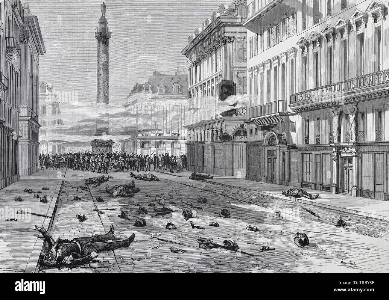 El rodaje de Place Vendôme - Aparición de la calle de la paz, después de la dispersión de la manifestación del 23 de marzo - Comuna de París, 1871 Imagen De Stock