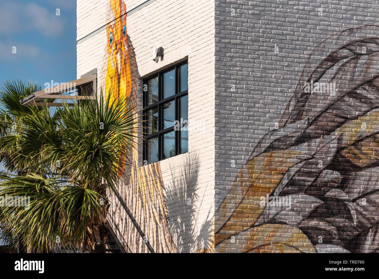 Coop 303 restaurante arte mural en playas del norte centro de Atlantic Beach, Florida. (Ee.Uu.) Imagen De Stock