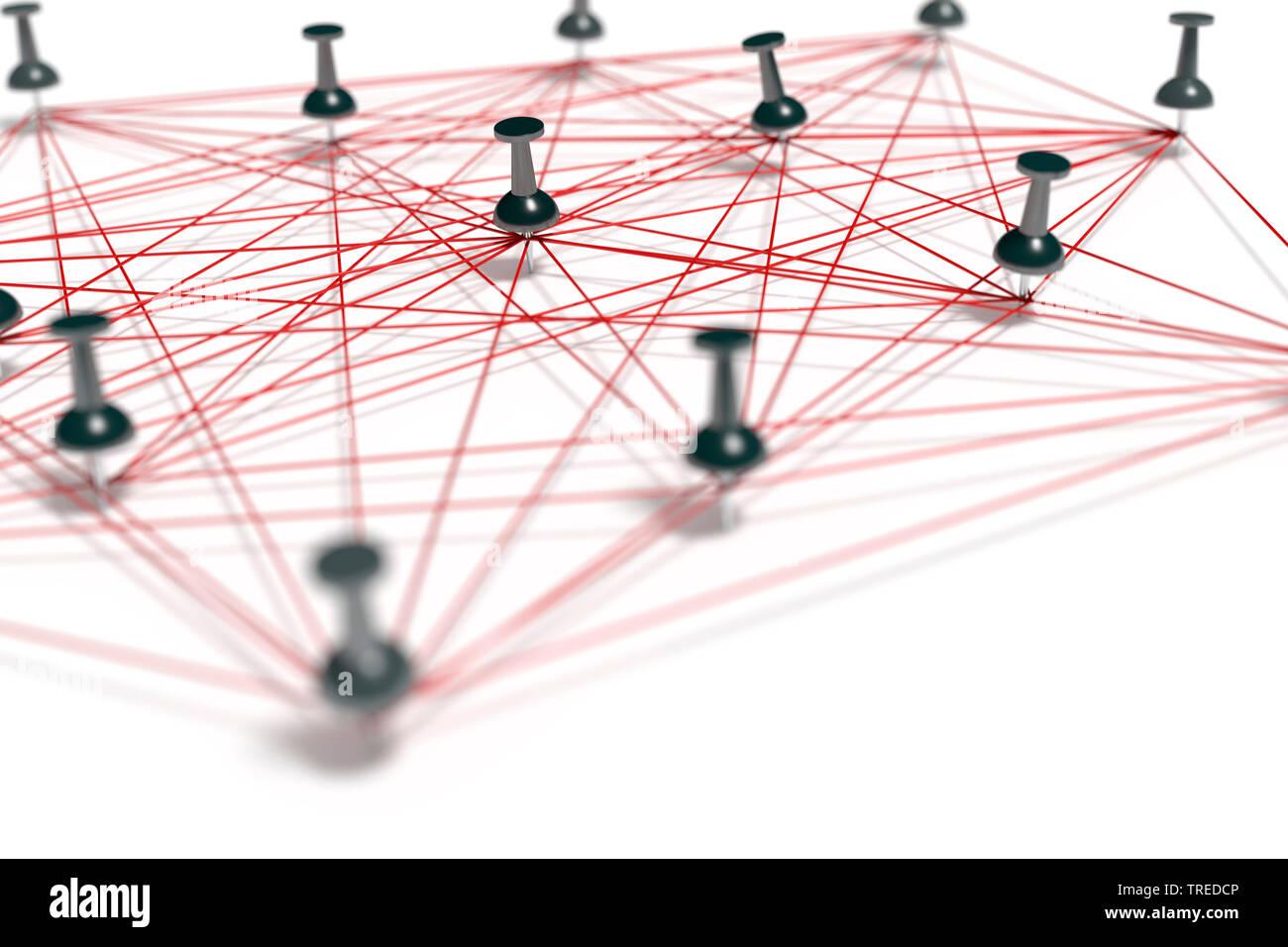 Pins conectados con hilos rojos, simbolizando en una estructura de red Foto de stock