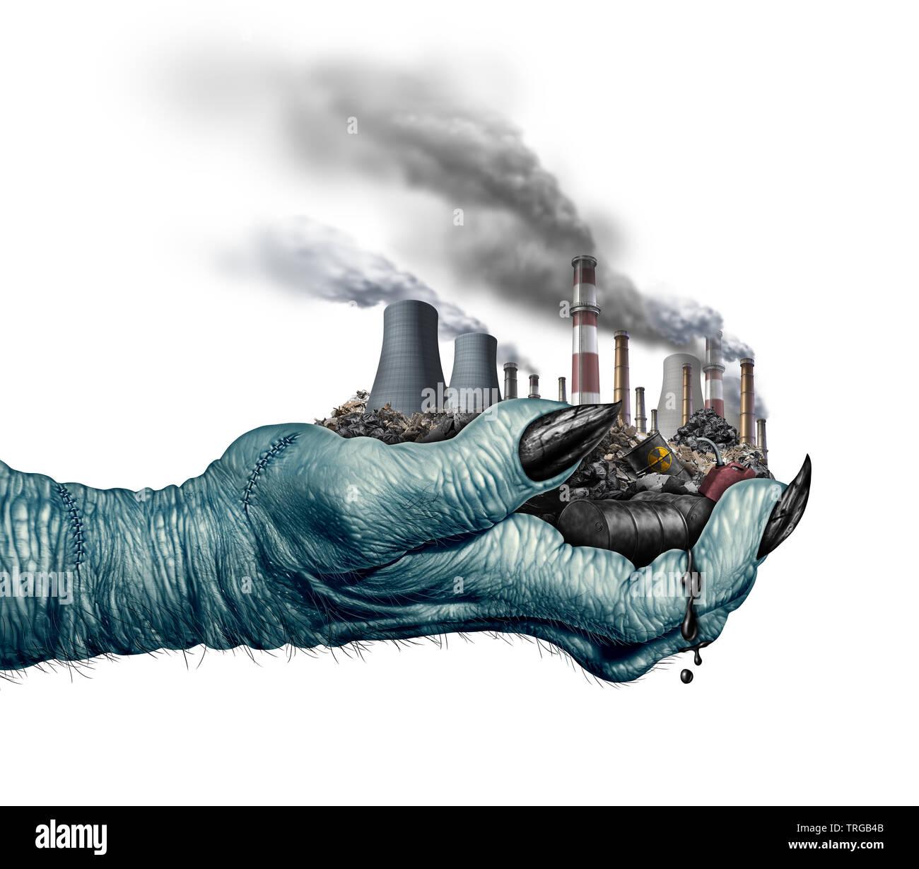 Concepto de peligro ambiental y el cambio climático global medio ambiente riesgo como un monstruo mano sujetando industrias contaminantes y residuos tóxicos. Foto de stock