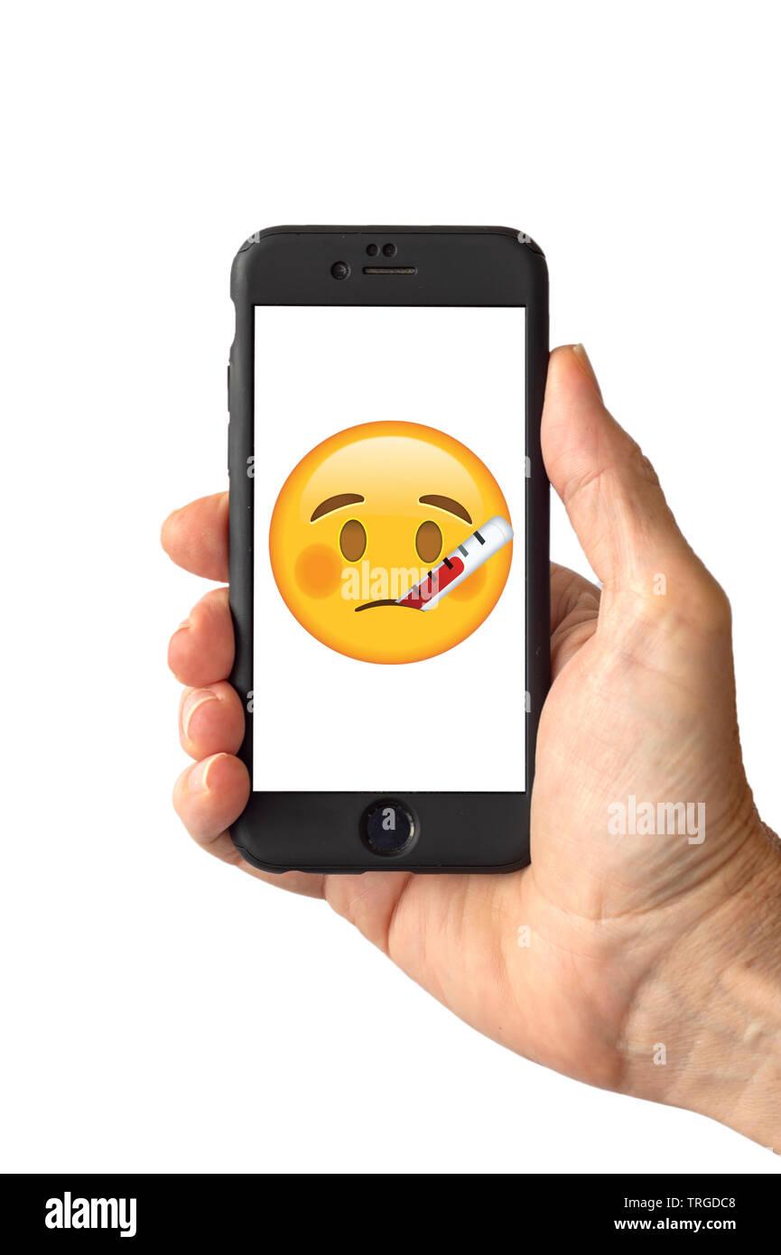 Cara Con Termometro Emoji En La Pantalla Del Smartphone Fotografia De Stock Alamy Windows, windows phone, android, ios, os x. alamy