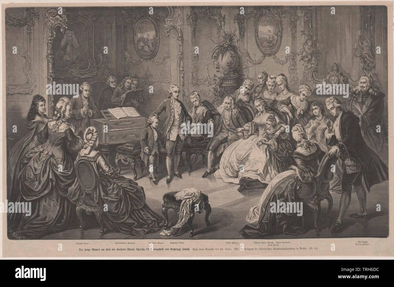 Mozart en Schönbrunn, Mozart de seis años en Schönbrunn, presentó a la pareja imperial por el Archiduque Joseph, el grabado en madera basada en la pintura de Eduard Ender,Foto de grupo, compositor, compositores, cultura, culturas, artista, artistas, músicos, personalidad, celebridades, músico, además, otros, clasicismo vienés, Habsburgo Lorena, Habsburgo - Lorena, de longitud completa, longitud completa, del siglo XVIII, la gente, el archiduque, archiduques, Additional-Rights-Clearance-Info-Not-Available Imagen De Stock