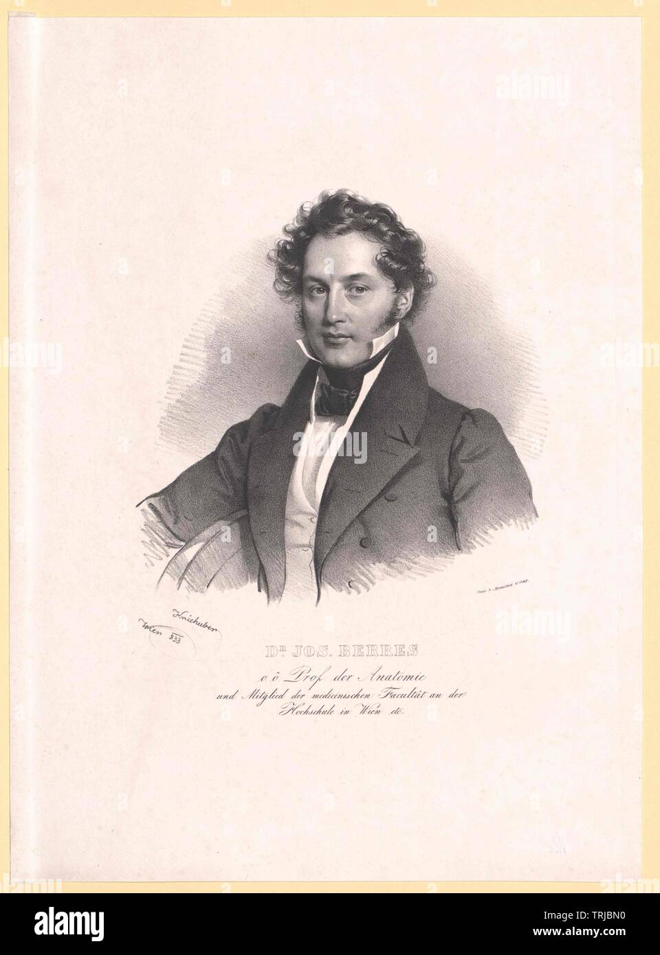 Berres, Joseph von, médico austríaco, profesor de anatomía en las universidades de Viena y de Lviv (1831 et sequentes) peerage 1842 09 21-Clearance-Info-Not-Available Additional-Rights Imagen De Stock