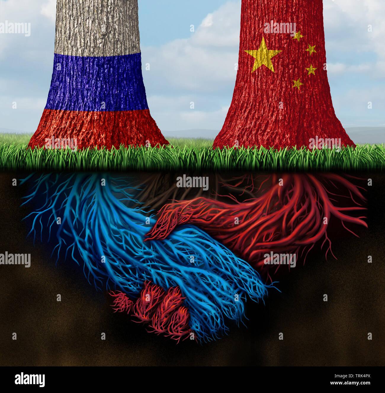 China Rusia acuerdo comercial y tratar ruso o chino la negociación como un tratado económico y solución financiera global sobre las importaciones y las exportaciones. Foto de stock
