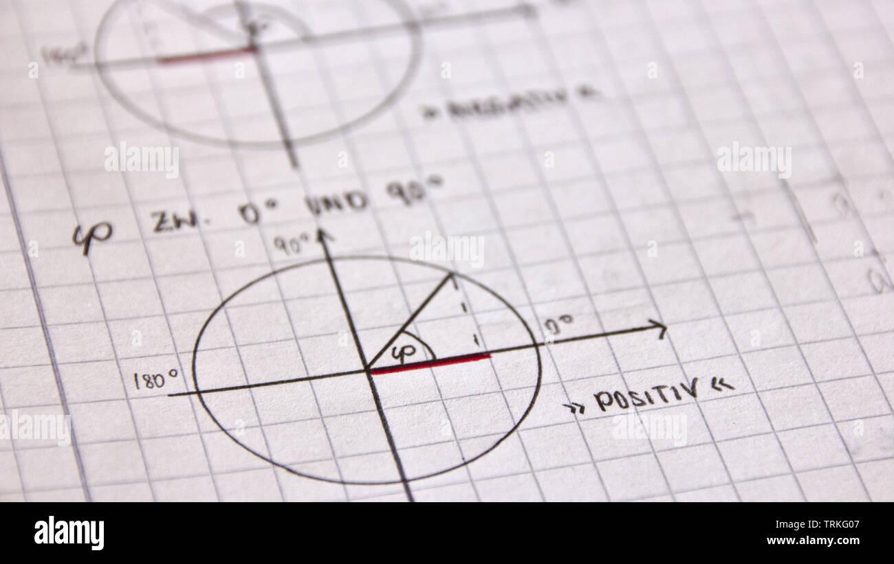 El ángulo entre los vectores con seno y coseno Imagen De Stock