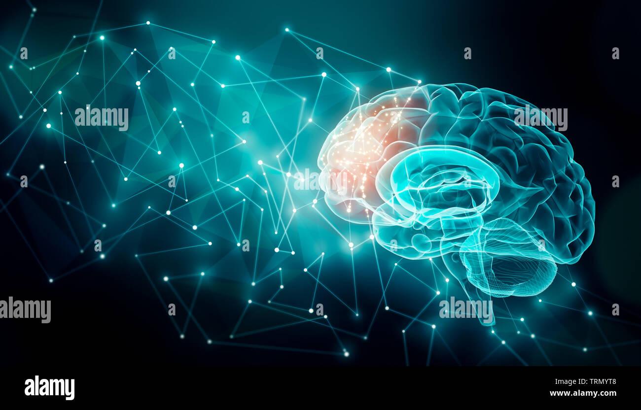 La actividad cerebral humana con las líneas del plexo. Externos conexiones cerebrales en el lóbulo frontal. La comunicación, la psicología, la inteligencia artificial o AI, Foto de stock