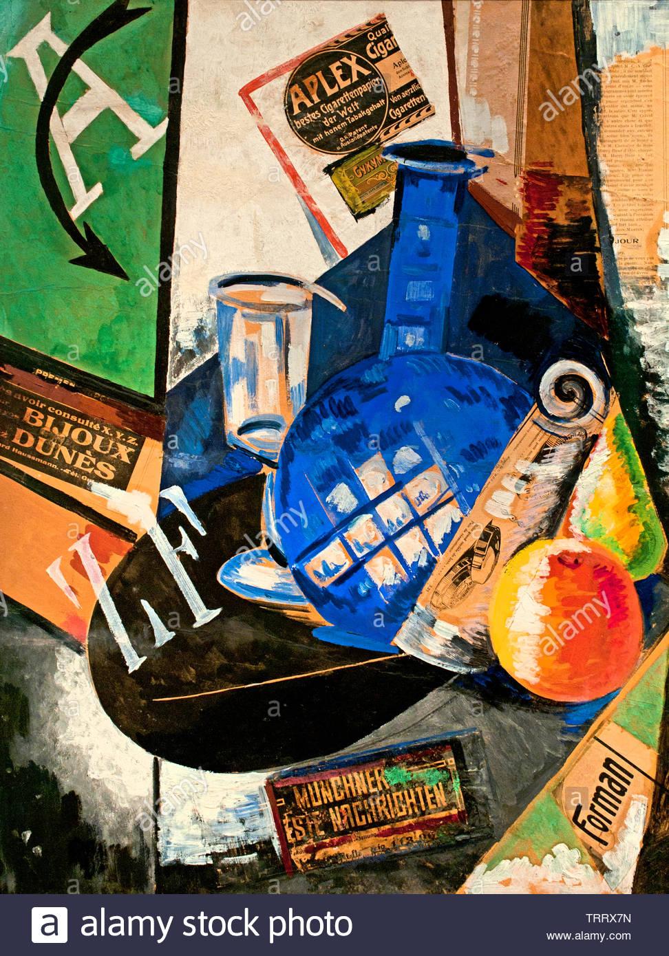 Bodegón con botella de vidrio y 1912 por Alexandra Exter nacido en 1882 - 1949 La Federación de Rusia. Imagen De Stock